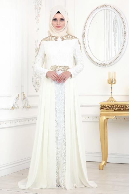 Tesettürlü Abiye Elbise - Şifon Detaylı Beyaz Tesettür Abiye Elbise 20100B