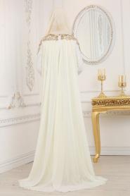 Tesettürlü Abiye Elbise - Şifon Detaylı Beyaz Tesettür Abiye Elbise 20100B - Thumbnail