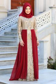 Tesettürlü Abiye Elbise - Şifon Detaylı Bordo Tesettür Abiye Elbise 7567BR - Thumbnail