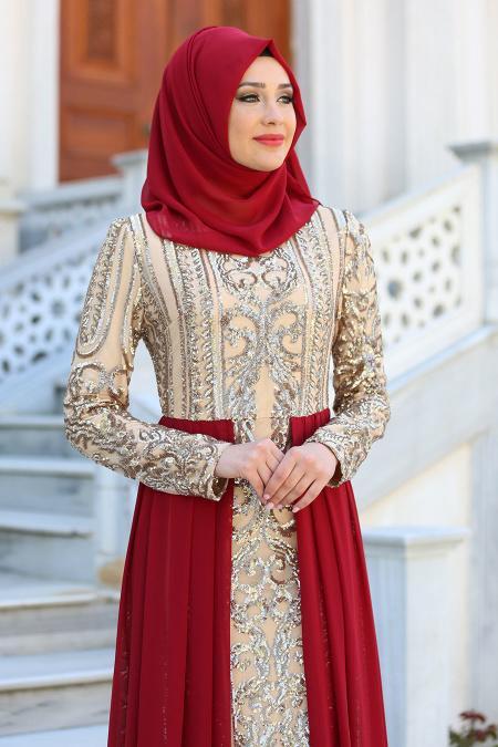 Tesettürlü Abiye Elbise - Şifon Detaylı Bordo Tesettür Abiye Elbise 7567BR