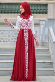 Tesettürlü Abiye Elbise - Şifon Detaylı Bordo Tesettür Abiye Elbise 7784BR - Thumbnail