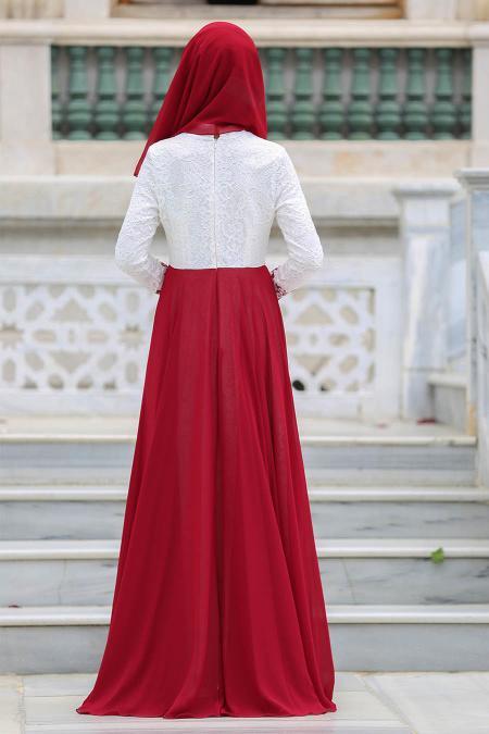 Tesettürlü Abiye Elbise - Şifon Detaylı Bordo Tesettür Abiye Elbise 7784BR