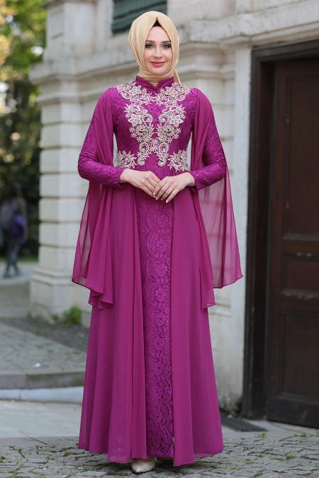 Tesettürlü Abiye Elbise - Şifon Detaylı Dantelli Fuşya Tesettür Abiye Elbise 7623F