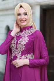 Tesettürlü Abiye Elbise - Şifon Detaylı Dantelli Fuşya Tesettür Abiye Elbise 7623F - Thumbnail