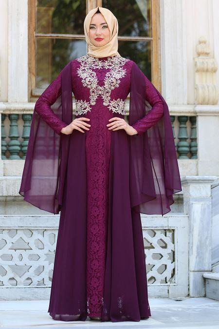 Tesettürlü Abiye Elbise - Şifon Detaylı Dantelli Mürdüm Tesettür Abiye Elbise 7623MU