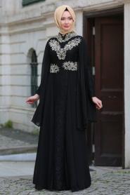 Tesettürlü Abiye Elbise - Şifon Detaylı Dantelli Siyah Tesettür Abiye Elbise 7623S - Thumbnail