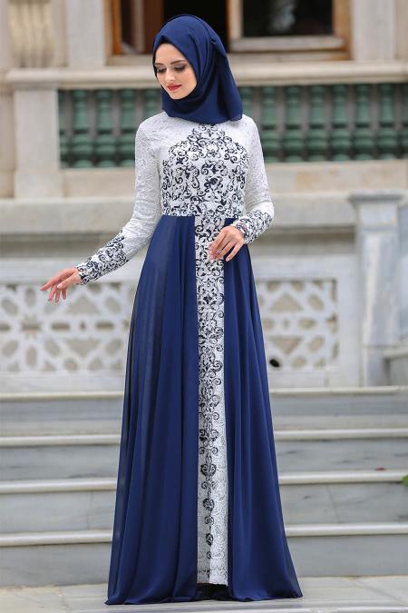 Tesettürlü Abiye Elbise - Şifon Detaylı Lacivert Tesettür Abiye Elbise 7784L