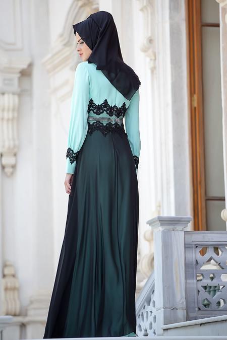 Tesettürlü Abiye Elbise - Şifon Detaylı Mint Elbise