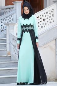 Tesettürlü Abiye Elbise - Şifon Detaylı Mint Elbise - Thumbnail