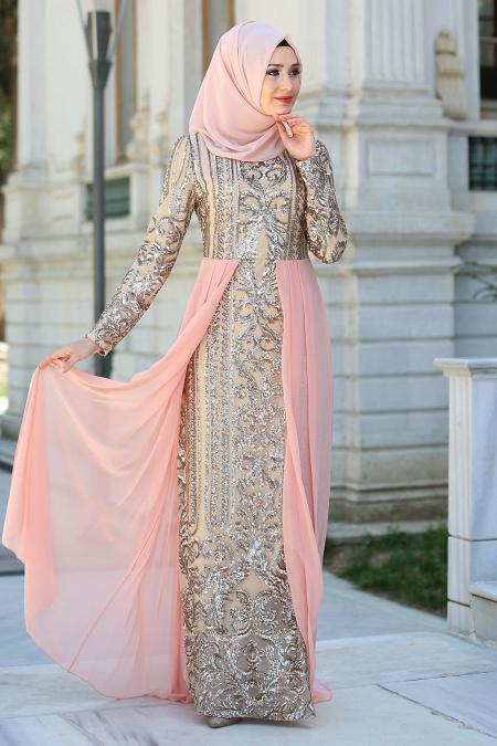 Tesettürlü Abiye Elbise - Şifon Detaylı Somon Tesettür Abiye Elbise 7567SMN