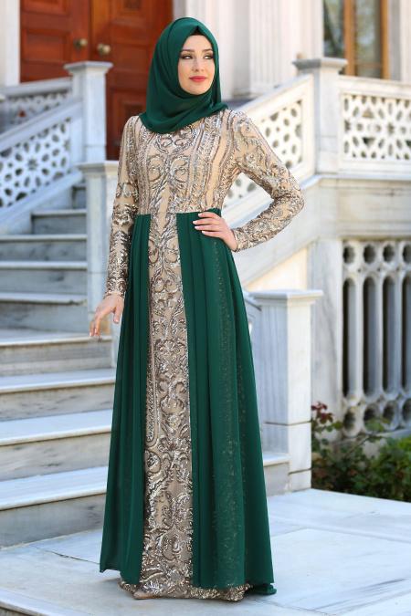 Tesettürlü Abiye Elbise - Şifon Detaylı Yeşil Tesettür Abiye Elbise 7567Y