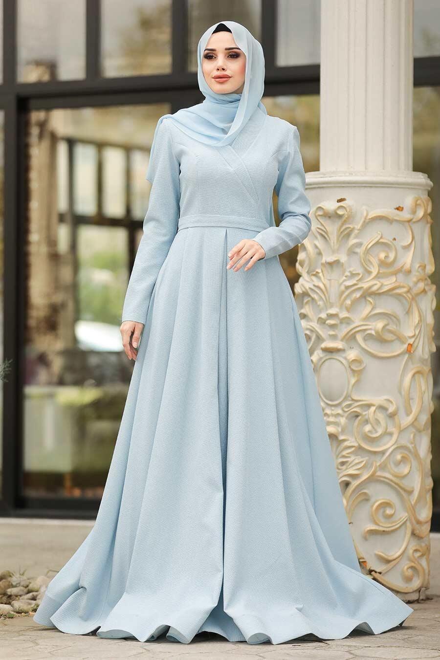 Tesettürlü Abiye Elbise - Simli Bebek Mavisi Tesettür Abiye Elbise 4580BM