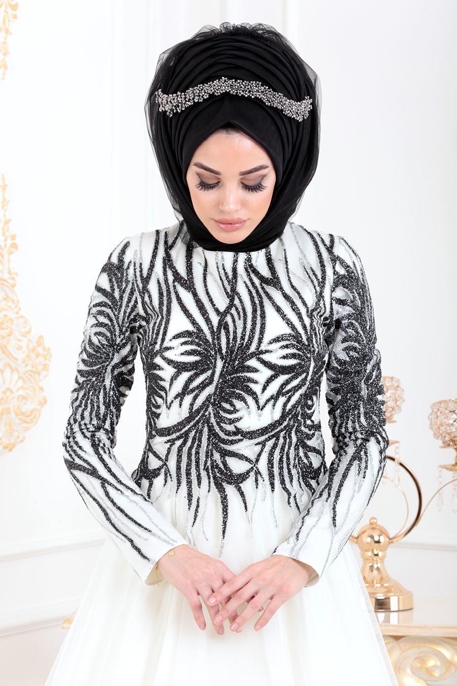 Tesettürlü Abiye Elbise - Simli Desenli Ekru Tesettür Abiye Elbise 20690E