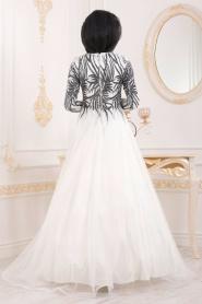 Tesettürlü Abiye Elbise - Simli Desenli Ekru Tesettür Abiye Elbise 20690E - Thumbnail