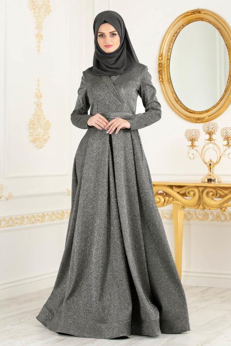 Tesettürlü Abiye Elbise - Simli Füme Tesettür Abiye Elbise 4580FU