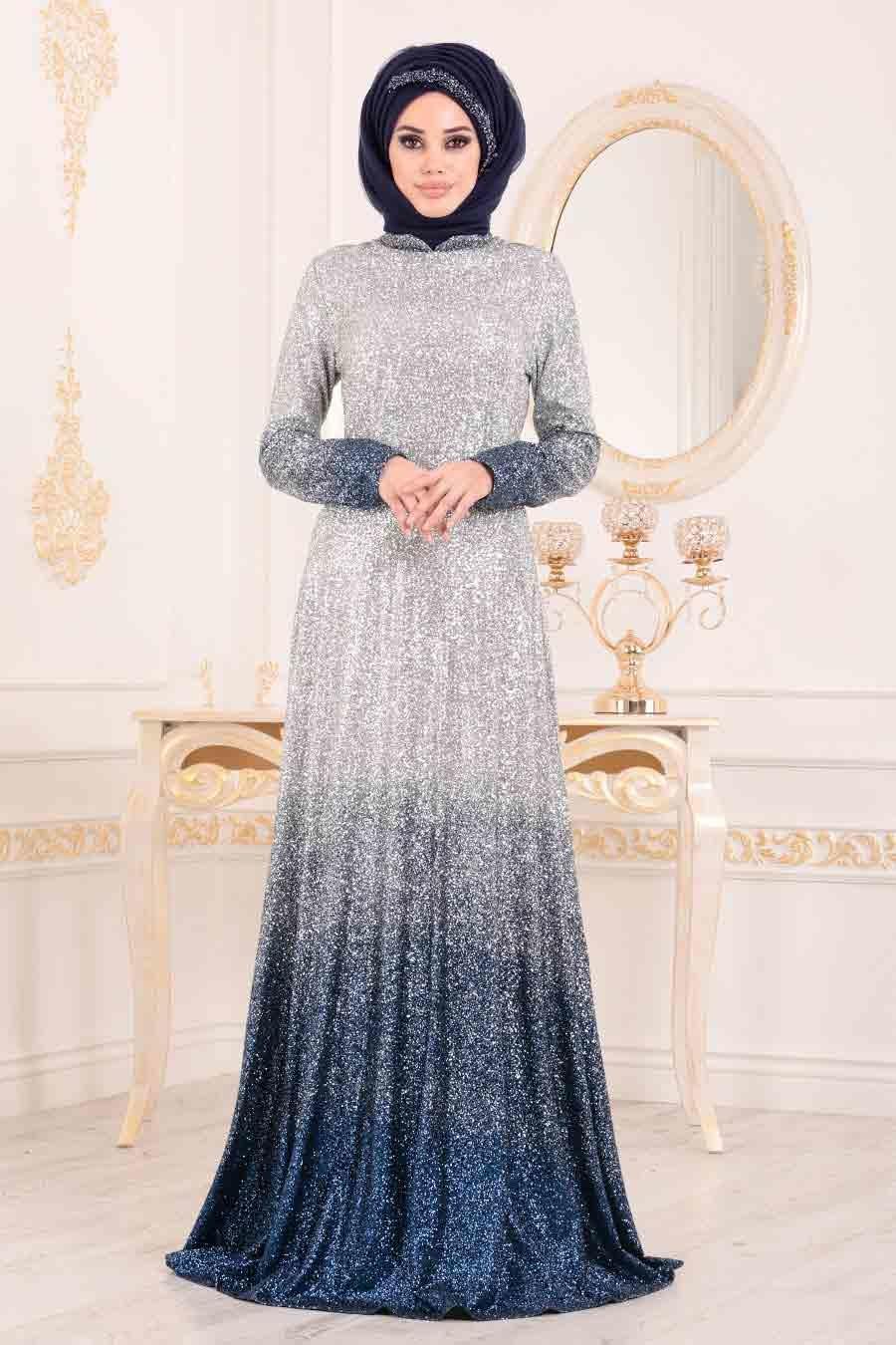 Tesettürlü Abiye Elbise - Simli İndigo Mavisi Tesettür Abiye Elbise 8508IM