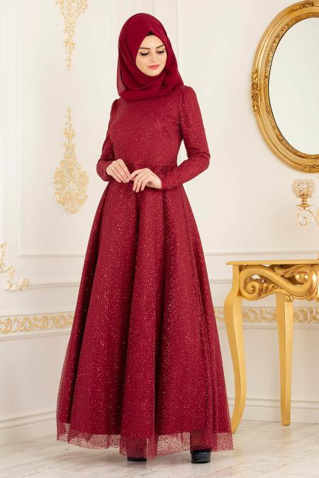 Tesettürlü Abiye Elbise - Simli Kırmızı Tesettür Abiye Elbise 36501K