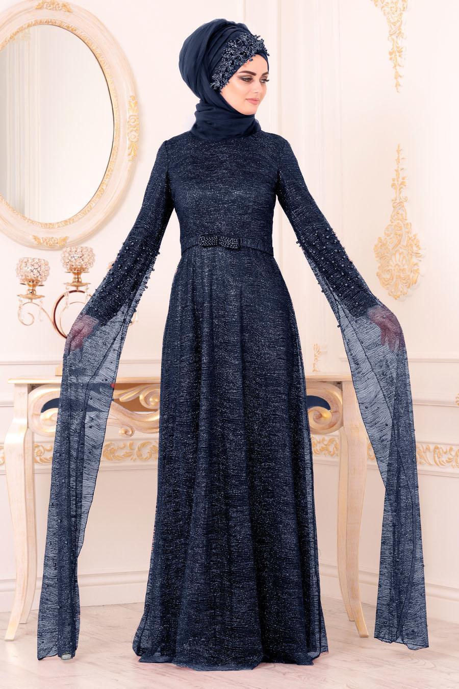 Tesettürlü Abiye Elbise - Simli Lacivert Renk Tesettür Abiye Elbise 3247L