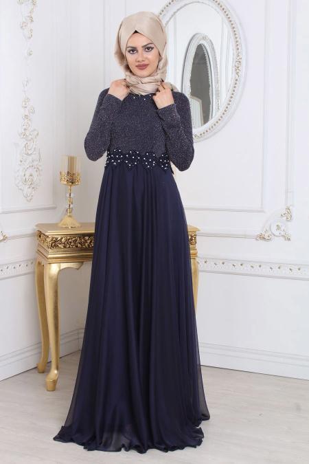 Tesettürlü Abiye Elbise - Simli Lacivert Tesettür Abiye Elbise 7950L