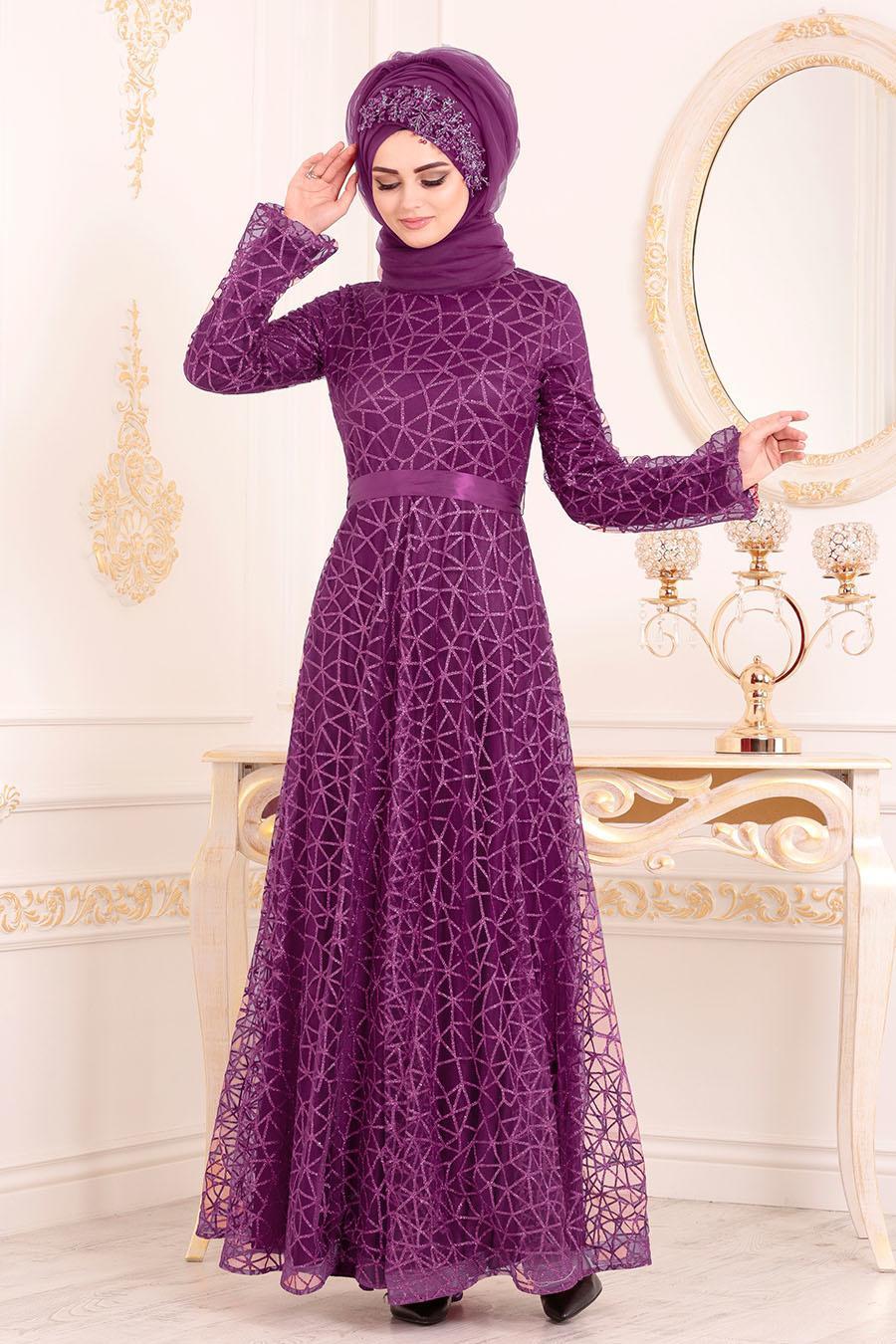 Tesettürlü Abiye Elbise - Simli Mor Renk Tesettür Abiye Elbise 31481MOR