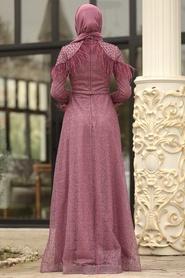 Tesettürlü Abiye Elbise - Simli Omuzları Boncuk Detaylı Gül Kurusu Tesettür Abiye Elbise 3940GK - Thumbnail