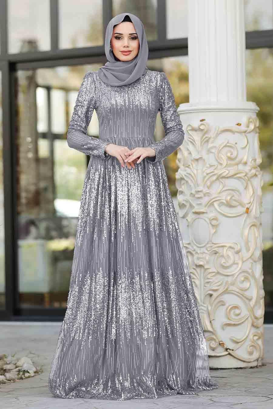 Tesettürlü Abiye Elbise - Simli Payetli Gri Tesettür Abiye Elbise 2083GR