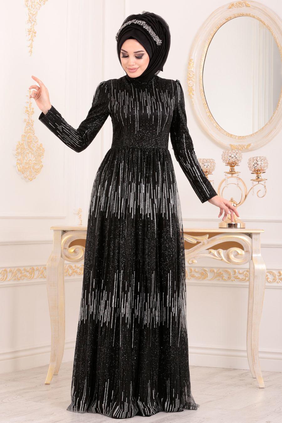 Tesettürlü Abiye Elbise - Simli Payetli Siyah Tesettür Abiye Elbise 2083S