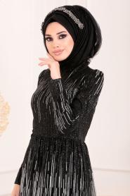 Tesettürlü Abiye Elbise - Simli Payetli Siyah Tesettür Abiye Elbise 2083S - Thumbnail