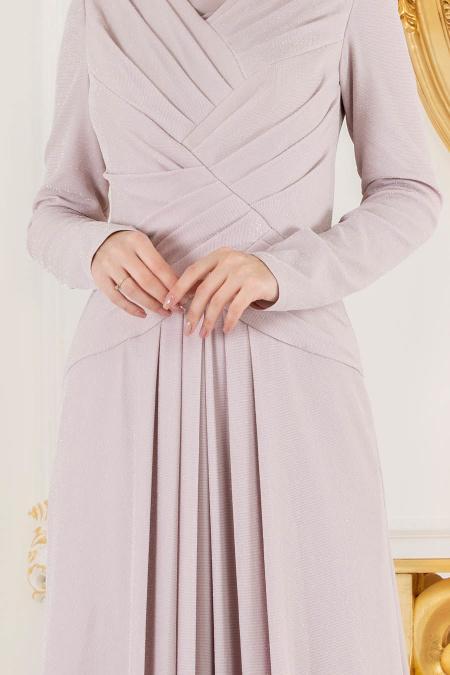 Tesettürlü Abiye Elbise - Simli Pudra Tesettür Abiye Elbise 4625PD