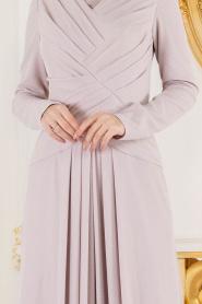 Tesettürlü Abiye Elbise - Simli Pudra Tesettür Abiye Elbise 4625PD - Thumbnail