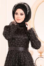 Tesettürlü Abiye Elbise - Simli Siyah Renk Tesettür Abiye Elbise 31481S - Thumbnail