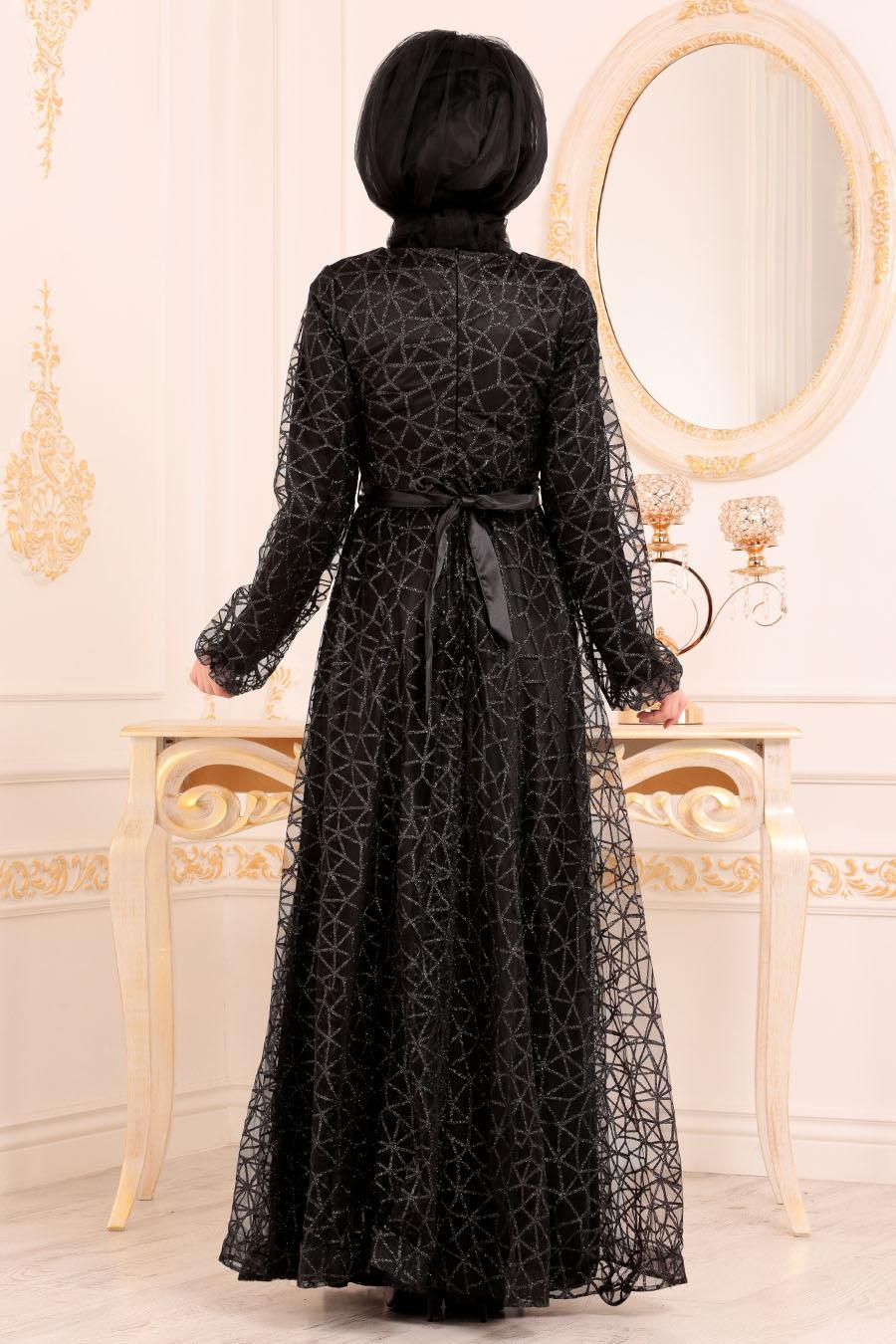 Tesettürlü Abiye Elbise - Simli Siyah Renk Tesettür Abiye Elbise 31481S