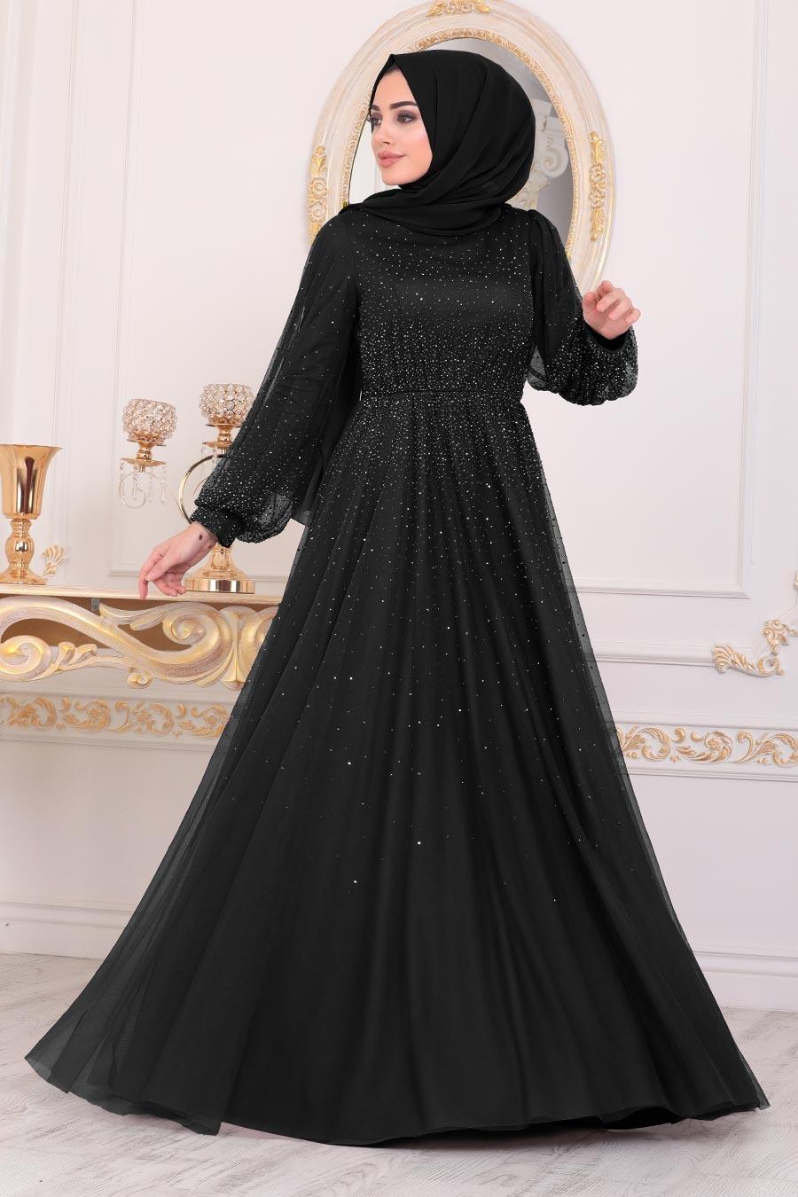 Tesettürlü Abiye Elbise - Simli Siyah Tesettür Abiye Elbise 21501S