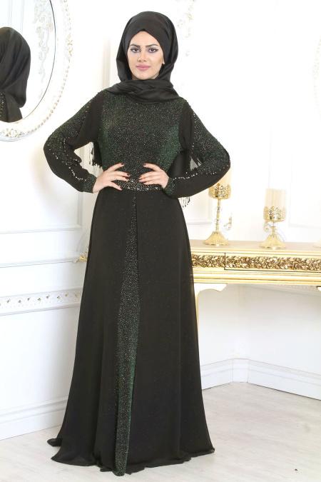 Tesettürlü Abiye Elbise - Simli Siyah Tesettür Abiye Elbise 79382S