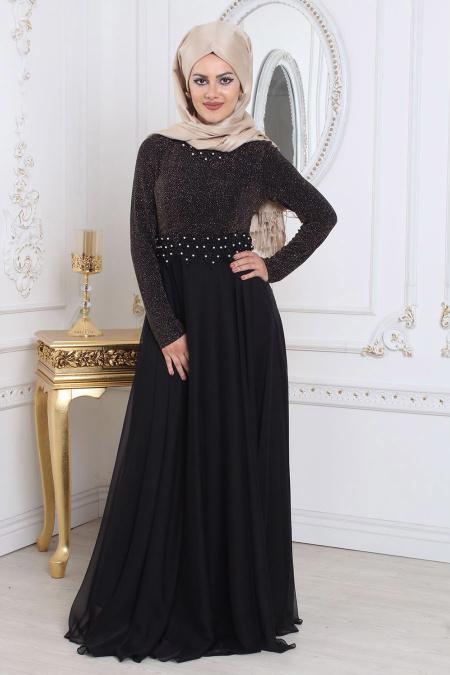 Tesettürlü Abiye Elbise - Simli Siyah Tesettür Abiye Elbise 7950S