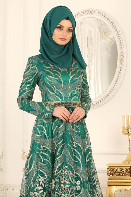 Tesettürlü Abiye Elbise - Simli Yeşil Tesettür Abiye Elbise 4304Y
