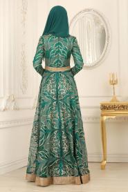 Tesettürlü Abiye Elbise - Simli Yeşil Tesettür Abiye Elbise 4304Y - Thumbnail