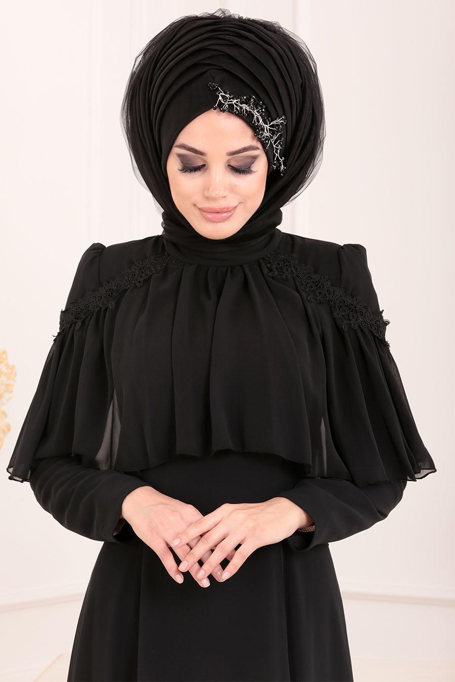 Tesettürlü Abiye Elbise - Siyah Tesettür Abiye Elbise 37570S