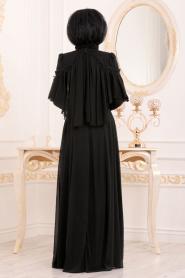Tesettürlü Abiye Elbise - Siyah Tesettür Abiye Elbise 37570S - Thumbnail