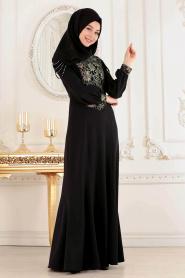 Tesettürlü Abiye Elbise - Siyah Tesettür Abiye Elbise 4031S - Thumbnail
