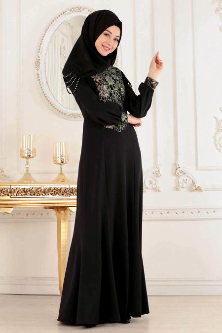 Tesettürlü Abiye Elbise - Siyah Tesettür Abiye Elbise 4031S