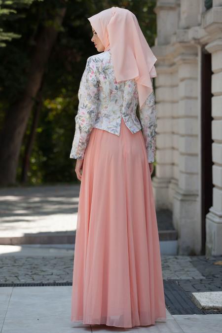 Tesettürlü Abiye Elbise - Somon Elbise