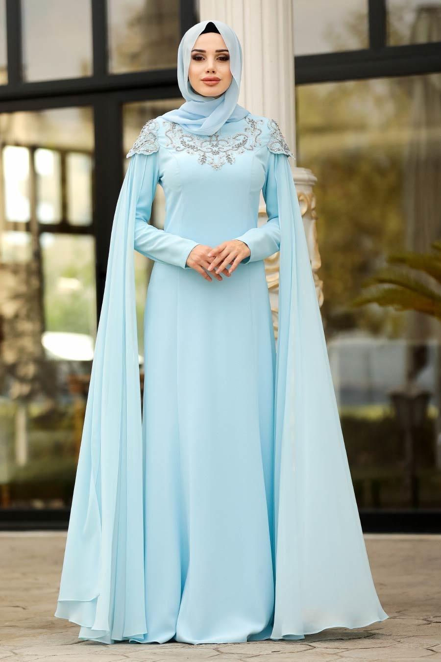 Tesettürlü Abiye Elbise - Taş Detaylı Bebek Mavisi Tesettür Abiye Elbise 20250BM