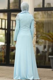 Tesettürlü Abiye Elbise - Taş Detaylı Bebek Mavisi Tesettür Abiye Elbise 20250BM - Thumbnail
