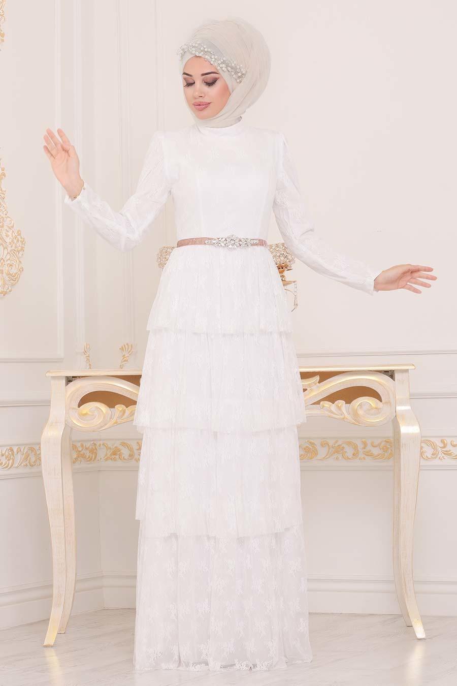 Tesettürlü Abiye Elbise - Taş Detaylı Ekru Tesettür Abiye Elbise 39680E