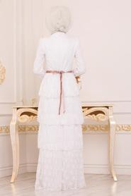 Tesettürlü Abiye Elbise - Taş Detaylı Ekru Tesettür Abiye Elbise 39680E - Thumbnail