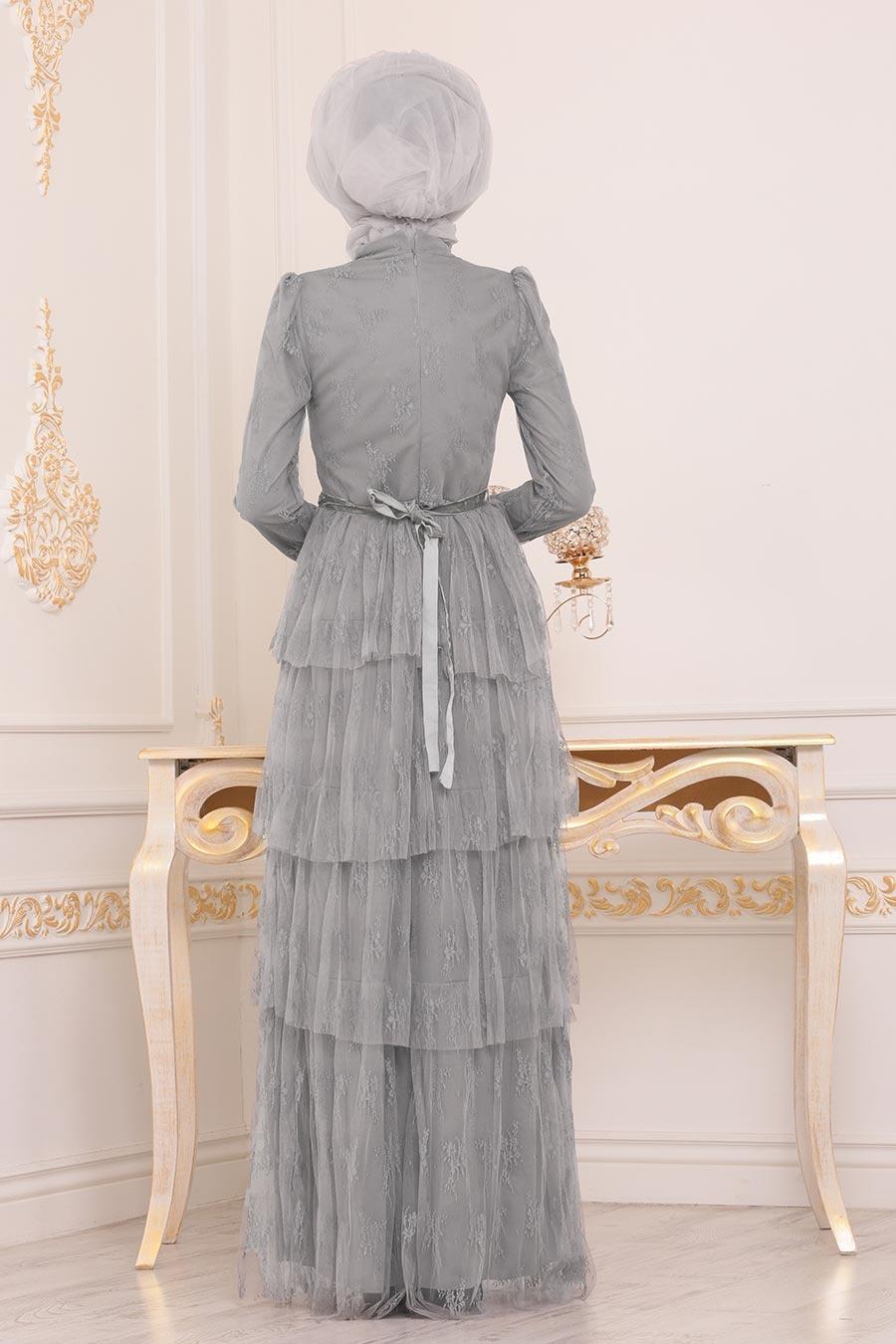 Tesettürlü Abiye Elbise - Taş Detaylı Gri Tesettür Abiye Elbise 39680GR