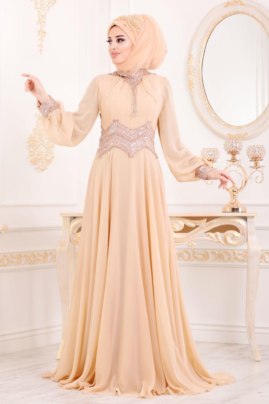 Tesettürlü Abiye Elbise - Taş Detaylı Koyu Somon Tesettür Abiye Elbise 4678KSMN
