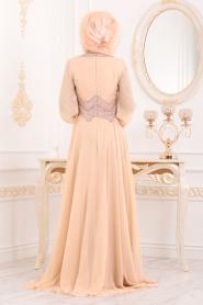 Tesettürlü Abiye Elbise - Taş Detaylı Koyu Somon Tesettür Abiye Elbise 4678KSMN - Thumbnail