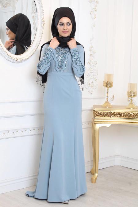 Tesettürlü Abiye Elbise - Taş Detaylı Mavi Tesettür Abiye Elbise 7956M